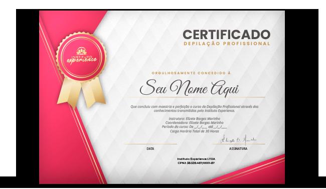 Certificado Depilação Profissional